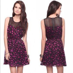Forever 21 Short Dress Black Purple Polka Dot Mesh
